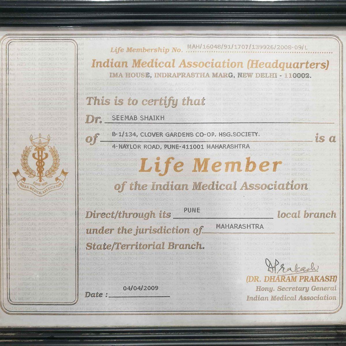 IMA | Dr. Seemab Shaikh | ENT surgeon in Pune